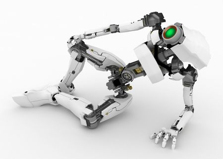 Slim 3d robotic figure, over white, isolated Stock Photo - 3466968