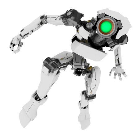 Slim 3d robotic figure, isolated Stock Photo