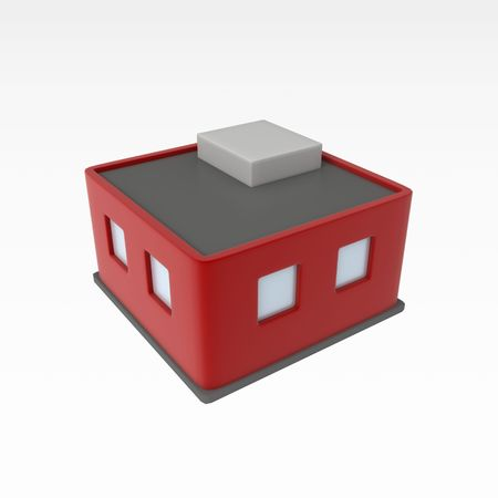Small 3d Building, over white, isolated Stock Photo - 3466751