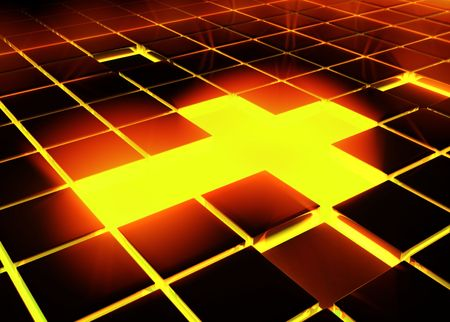 3d Tile Cross Light, horizontal photo