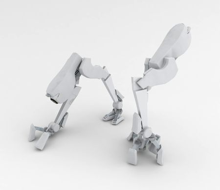 Small 3d Walker Robot, isolated photo