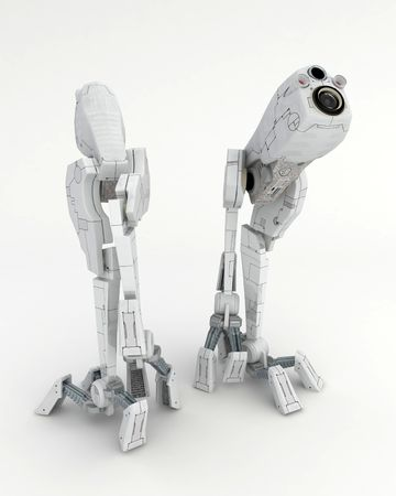 Small 3d Walker Robots, isolated Stock Photo - 3466935