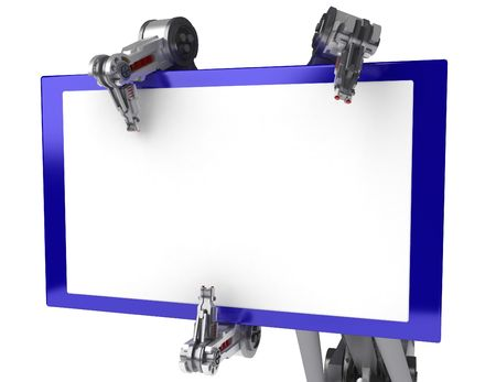 3d robotic arm, over white Stock Photo