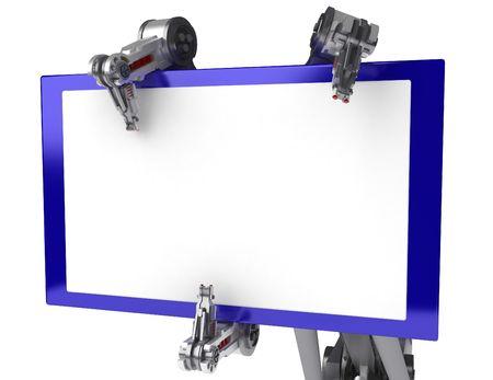 mano robotica: brazo rob�tico de 3D, sobre blanco Foto de archivo