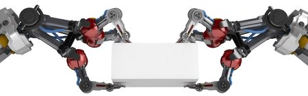 3d robotic arms, over white photo
