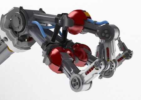 3d robotic arm, over white photo