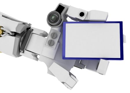 3d robotic arm, over white Stock Photo