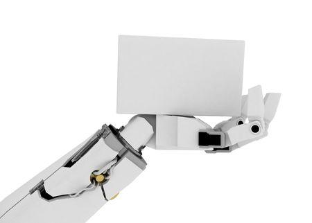 mano robotica: 3d brazo rob�tico, m�s de blanco  Foto de archivo