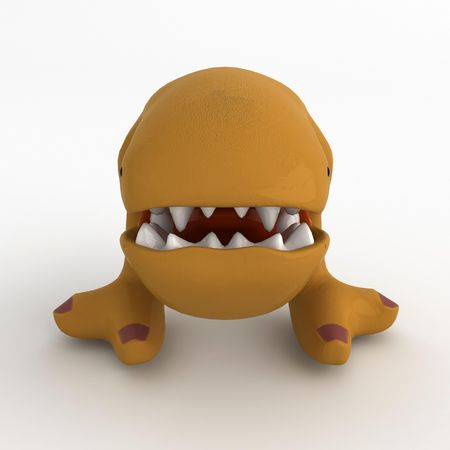smilling: Big Mouth Cartoon Creature, 3d, isolated