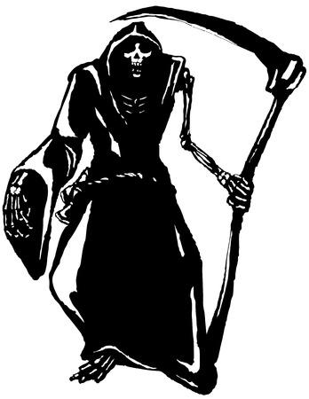 scythe: La muerte, en blanco y negro, dibujados a mano