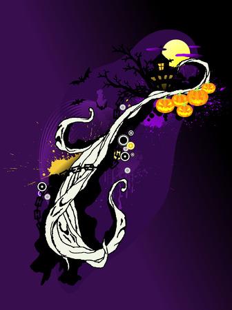 ghostly: Ghostly halloween design, hand drawn elements Illustration