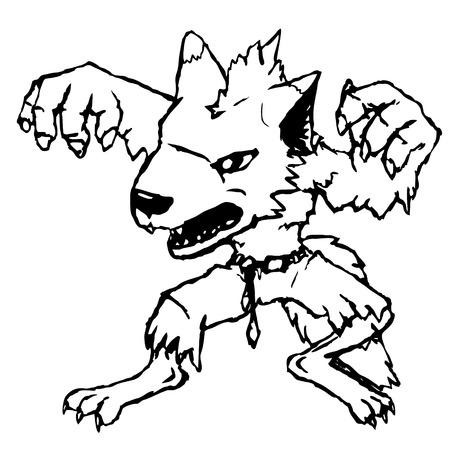 Cartoon werewolf, hand drawn, black and white Vector