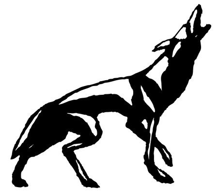 Howling Wolf, hand drawn, black and white Vector