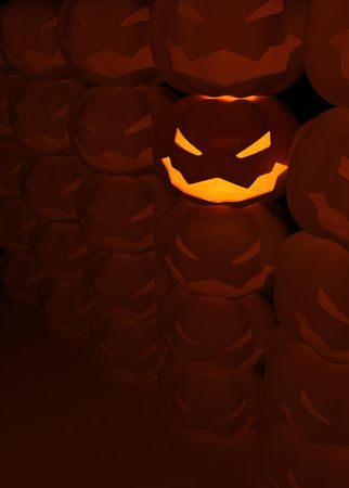 radiate: Lighted 3d Halloween Jack-olantern, dark background Stock Photo
