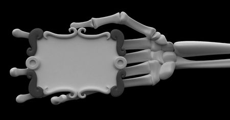 3d skeletal arm, over white Stock Photo