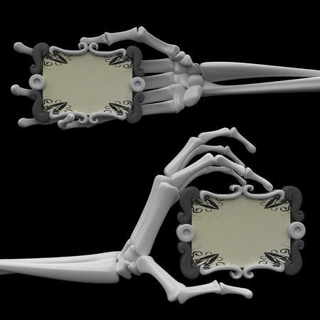 3d skeletal arms, over white photo