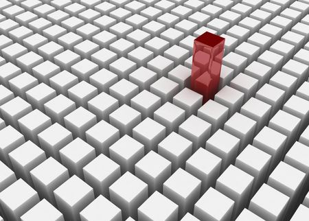 improvisation: Red 3d block standing out