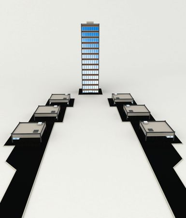 Isolated 3d office buildings, vertical photo