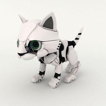 kitten small white: Small Robotic Kitten Model, 3d Stock Photo
