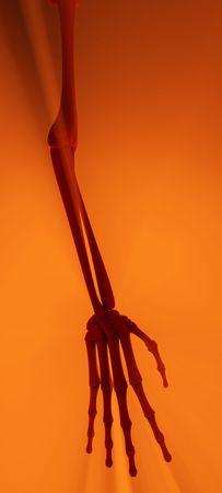 emanate: 3d cartoon skeleton arm, illuminated