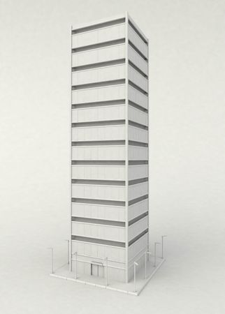 Isolated 3d skyscraper model, vertical photo