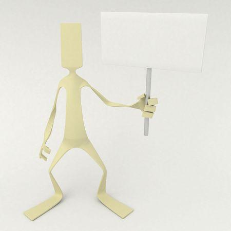 3d cg: Flat 3d cartoon figure, isolated