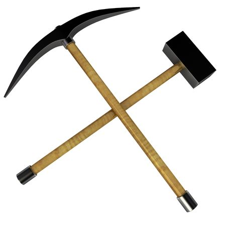 Isolated 3d work-tools, crossed mining tools
