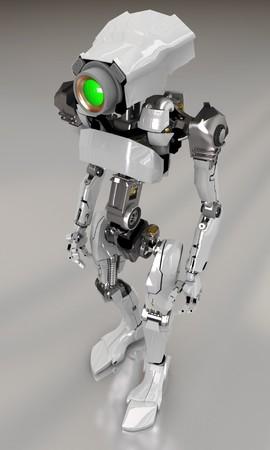 Slim 3d robotic figure, reflected Stock Photo - 3978178