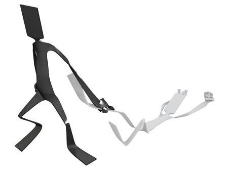 enslave: Flat 3d cartoon figure, isolated