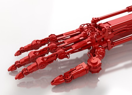 Red 3d robotic arm, over white photo