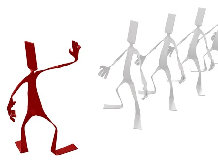 dismiss: Flat 3d cartoon figure, isolated