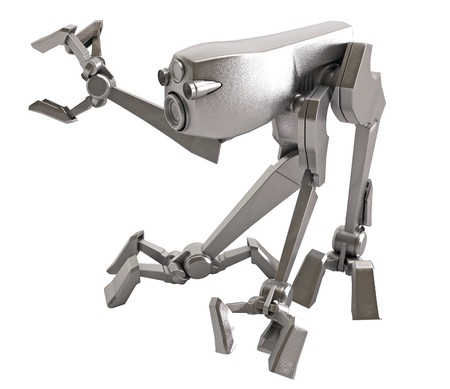 Small 3d Walker Robot, isolated Stock Photo - 4133469