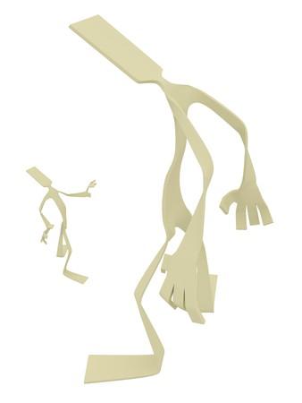 intimidate: Flat 3d cartoon figure, isolated