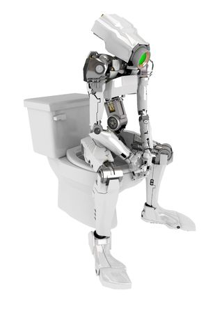 the advanced: Slim 3d robotic figure, isolated Stock Photo