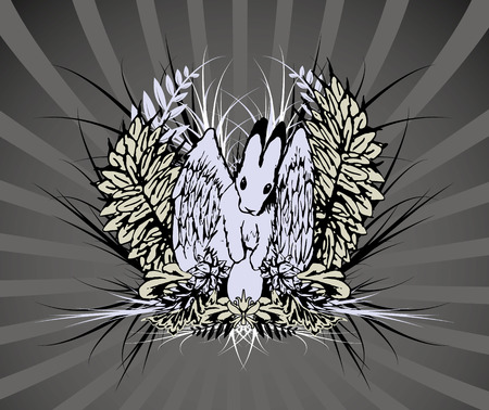 Easter hare theme emblem, hand drawn, elements separate Vector