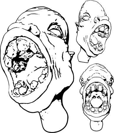 grotesque: Grotesque face outlines, 3 position variants, black and white