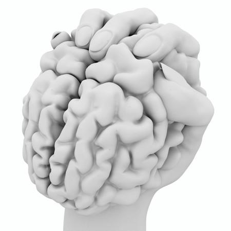 squeezed: Bianco 3d mano in possesso di un cervello umano, isolato