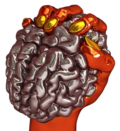 control power: Metallic 3d hand holding a human brain, isolated