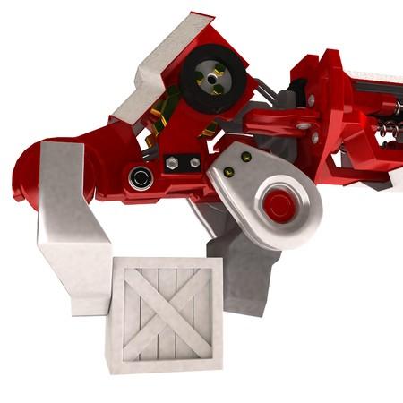 Heavy 3d robotic arm, isolated photo