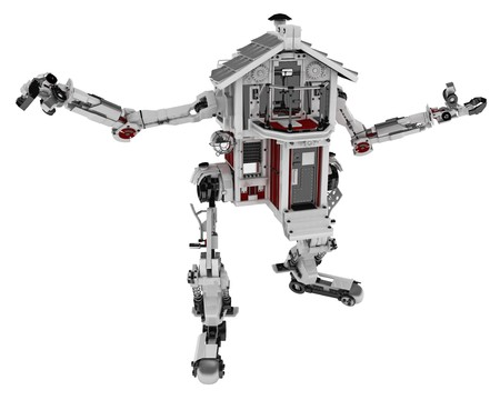 modification: Large 3d robotic house model, over white Stock Photo
