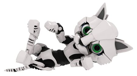 robot cartoon: Small Robotic 3d Kitten Model Stock Photo