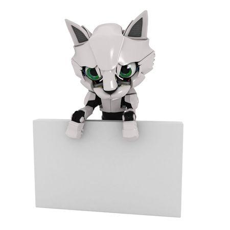 kitten small white: Small Robotic 3d Kitten Model Stock Photo