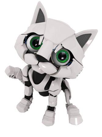 Small Robotic 3d Kitten Model Stock Photo