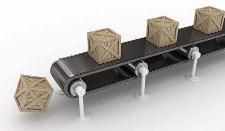 Wooden crates conveyor belt symbolizing goods manufacture, isolated