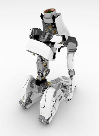 Slim 3d robotic figure, isolated Stock Photo - 4657700