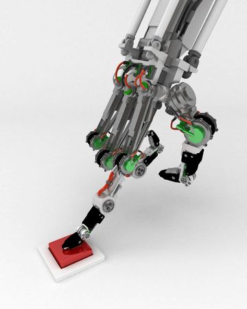 Robotic hand, 3d, over white photo
