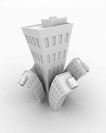 Cartoon Building Growth, White Stock Photo - 4829803