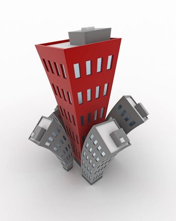 expanding: Cartoon 3d Building growth, isolated Stock Photo