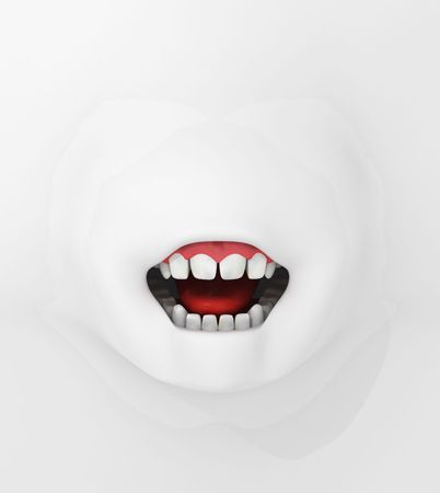 extruded: Surreal 3d mouth extruded from a white surface Stock Photo