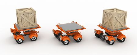 Small cargo transportation vehicles, 3d, isolated photo
